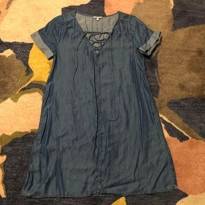 Lucky Brand Chambray Denim Jean Dress Lace-Up
